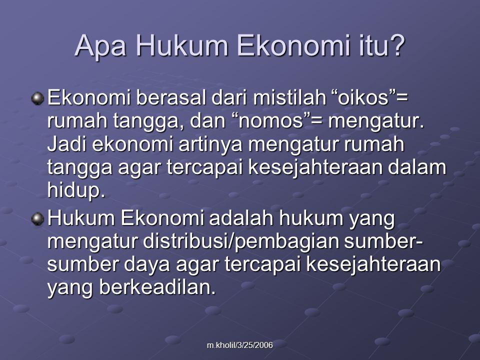 m.kholil/3/25/2006 Apa Hukum Ekonomi itu.