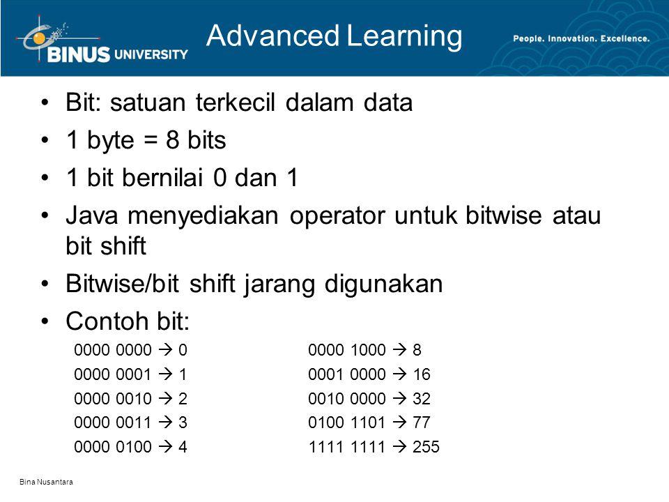 Bina Nusantara Advanced Learning Bit: satuan terkecil dalam data 1 byte = 8 bits 1 bit bernilai 0 dan 1 Java menyediakan operator untuk bitwise atau bit shift Bitwise/bit shift jarang digunakan Contoh bit: 0000 0000  00000 1000  8 0000 0001  10001 0000  16 0000 0010  20010 0000  32 0000 0011  30100 1101  77 0000 0100  41111 1111  255