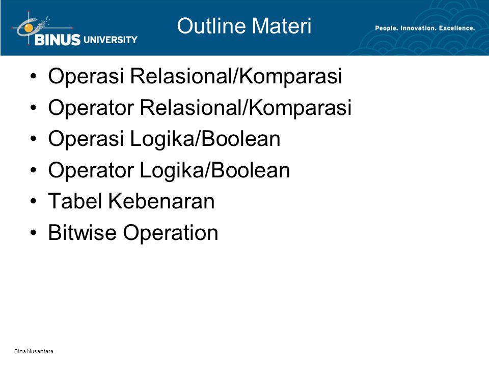 Bina Nusantara Outline Materi Operasi Relasional/Komparasi Operator Relasional/Komparasi Operasi Logika/Boolean Operator Logika/Boolean Tabel Kebenaran Bitwise Operation