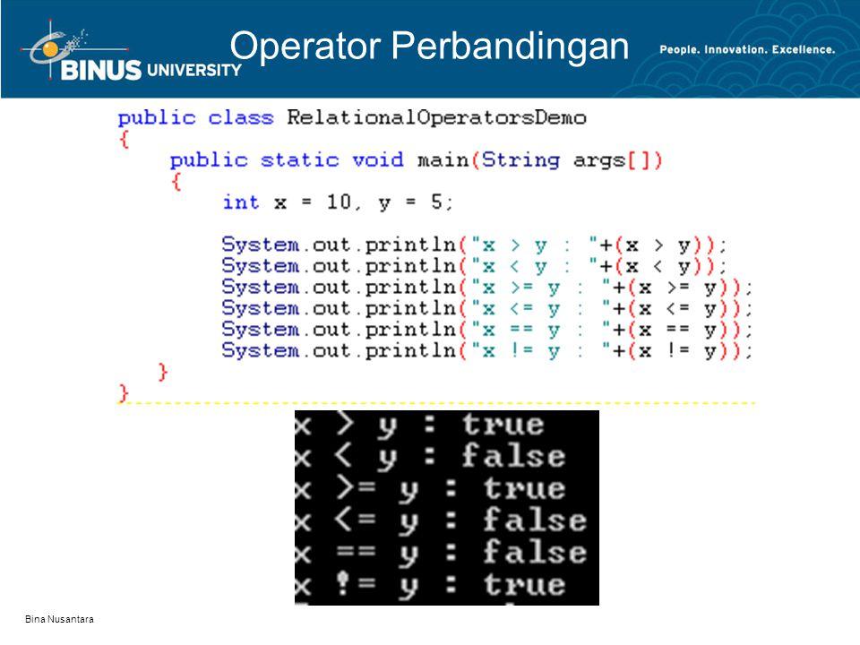 Bina Nusantara Operator Perbandingan