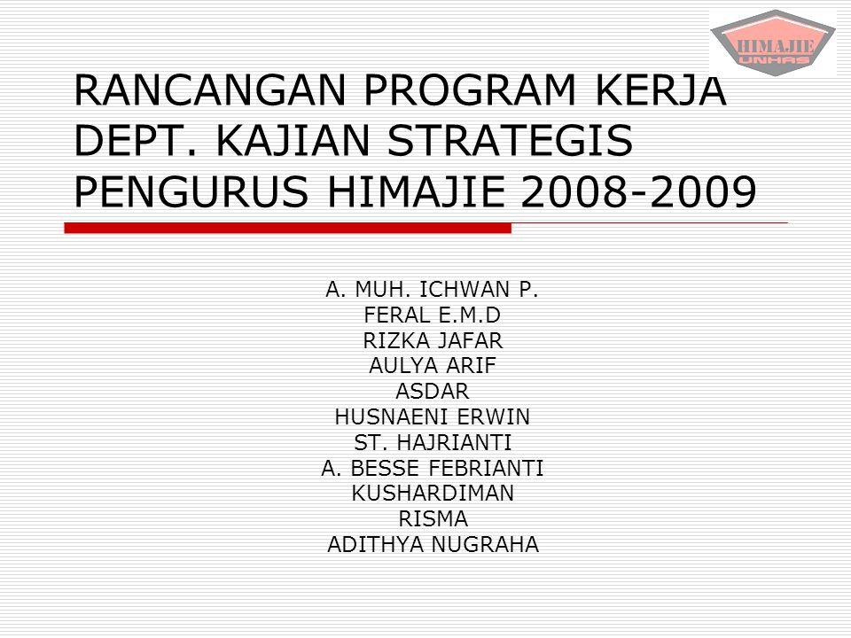 RANCANGAN PROGRAM KERJA DEPT. KAJIAN STRATEGIS PENGURUS HIMAJIE 2008-2009 A. MUH. ICHWAN P. FERAL E.M.D RIZKA JAFAR AULYA ARIF ASDAR HUSNAENI ERWIN ST