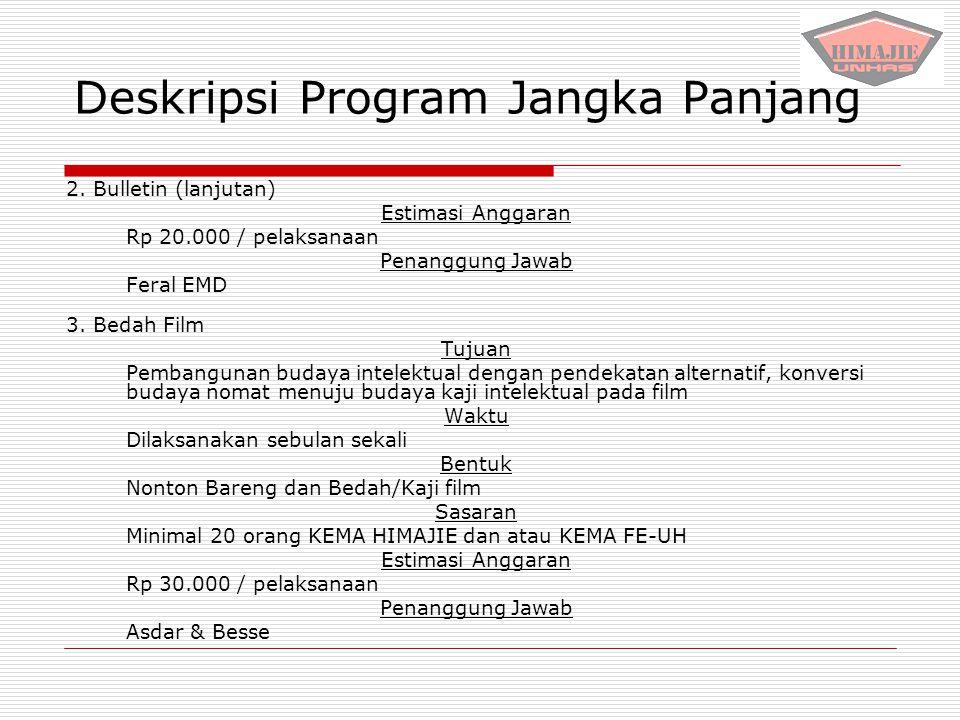 Deskripsi Program Jangka Panjang 2. Bulletin (lanjutan) Estimasi Anggaran Rp 20.000 / pelaksanaan Penanggung Jawab Feral EMD 3. Bedah Film Tujuan Pemb