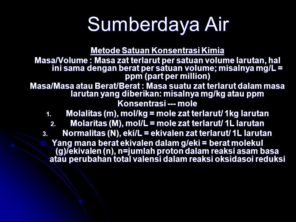 Sumberdaya Air Metode Satuan Konsentrasi Kimia Masa/Volume : Masa zat terlarut per satuan volume larutan, hal ini sama dengan berat per satuan volume; misalnya mg/L = ppm (part per million) Masa/Masa atau Berat/Berat : Masa suatu zat terlarut dalam masa larutan yang diberikan: misalnya mg/kg atau ppm Konsentrasi --- mole 1.