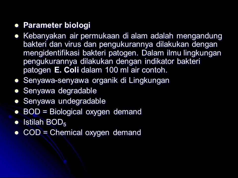 Parameter biologi Parameter biologi Kebanyakan air permukaan di alam adalah mengandung bakteri dan virus dan pengukurannya dilakukan dengan mengidenti