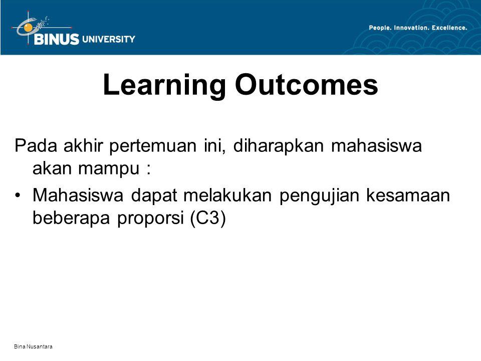 Bina Nusantara Learning Outcomes Pada akhir pertemuan ini, diharapkan mahasiswa akan mampu : Mahasiswa dapat melakukan pengujian kesamaan beberapa proporsi (C3)