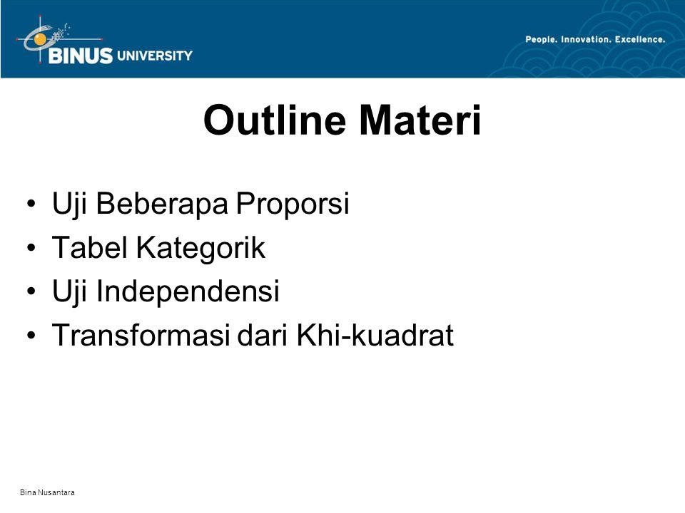 Bina Nusantara Outline Materi Uji Beberapa Proporsi Tabel Kategorik Uji Independensi Transformasi dari Khi-kuadrat