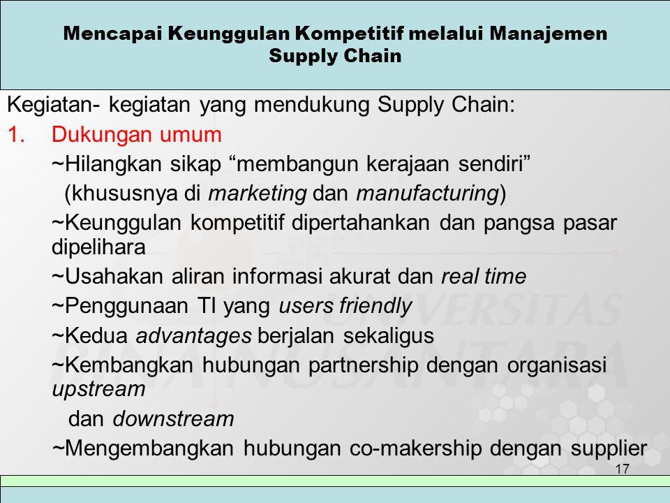"""17 Mencapai Keunggulan Kompetitif melalui Manajemen Supply Chain Kegiatan- kegiatan yang mendukung Supply Chain: 1.Dukungan umum ~Hilangkan sikap """"mem"""