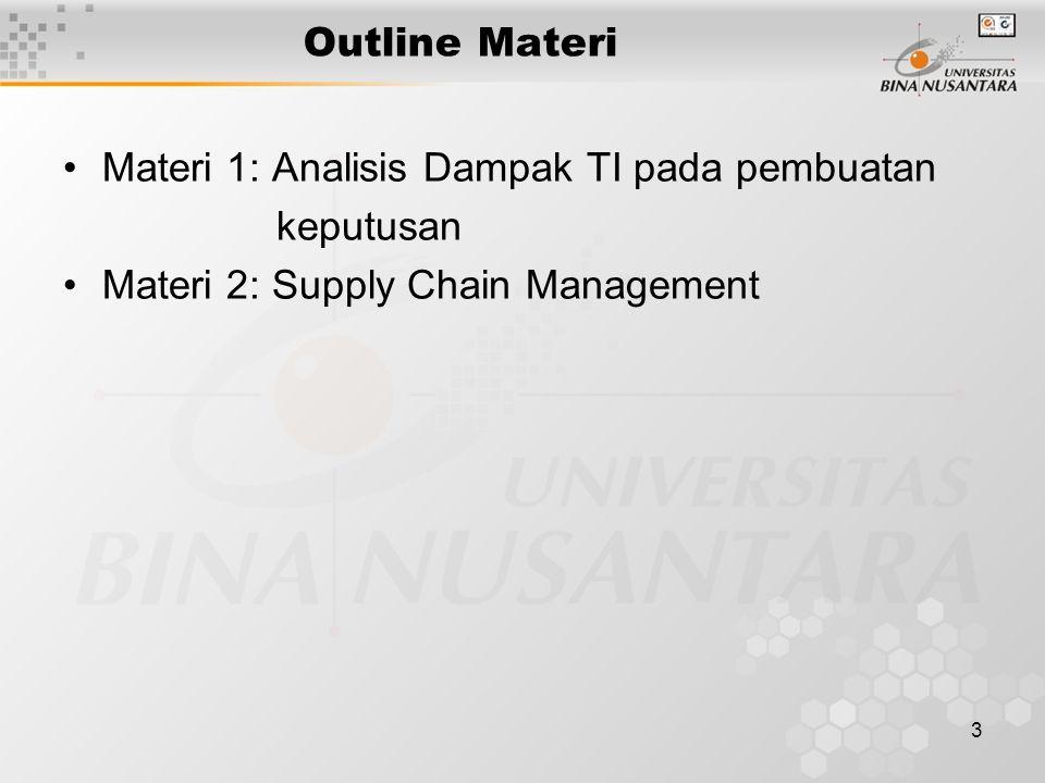 3 Outline Materi Materi 1: Analisis Dampak TI pada pembuatan keputusan Materi 2: Supply Chain Management