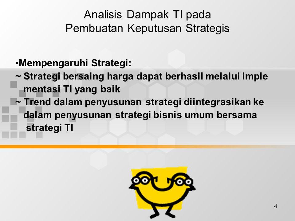 4 Analisis Dampak TI pada Pembuatan Keputusan Strategis Mempengaruhi Strategi: ~ Strategi bersaing harga dapat berhasil melalui imple mentasi TI yang