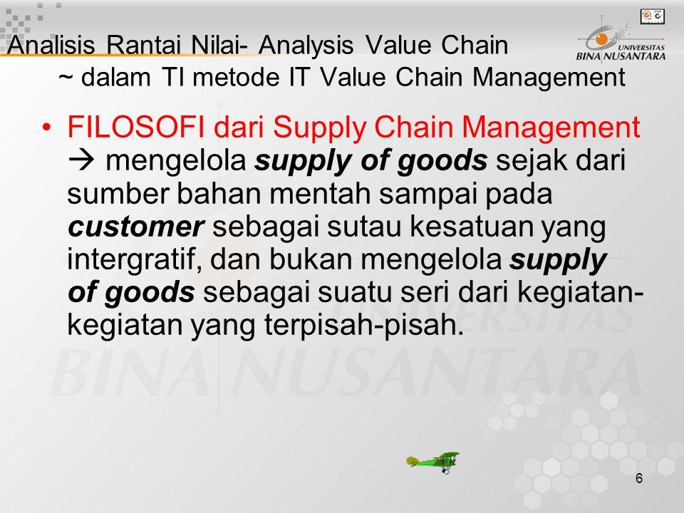6 Analisis Rantai Nilai- Analysis Value Chain ~ dalam TI metode IT Value Chain Management FILOSOFI dari Supply Chain Management  mengelola supply of
