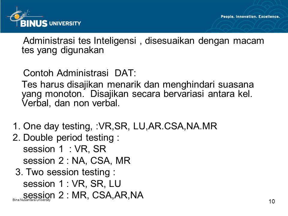 Bina Nusantara University 10 Administrasi tes Inteligensi, disesuaikan dengan macam tes yang digunakan Contoh Administrasi DAT: Tes harus disajikan me