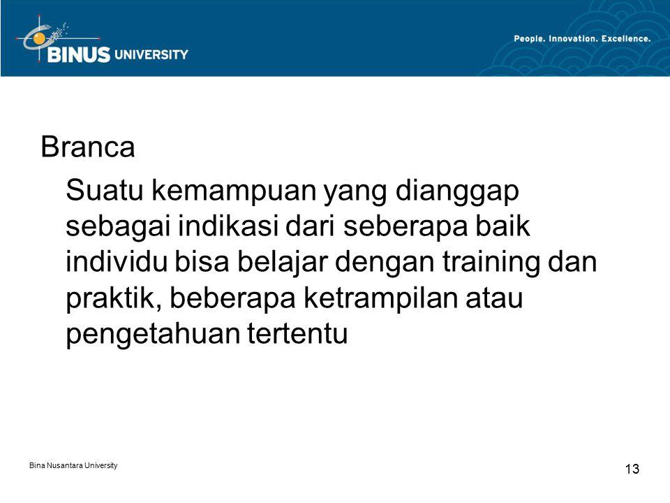 Bina Nusantara University 14 Bakat Suatu kemampuan khusus yang berkembang secara istimewa atau menonjol dibandingkan dengan kemampuan-kemampuan yang lain