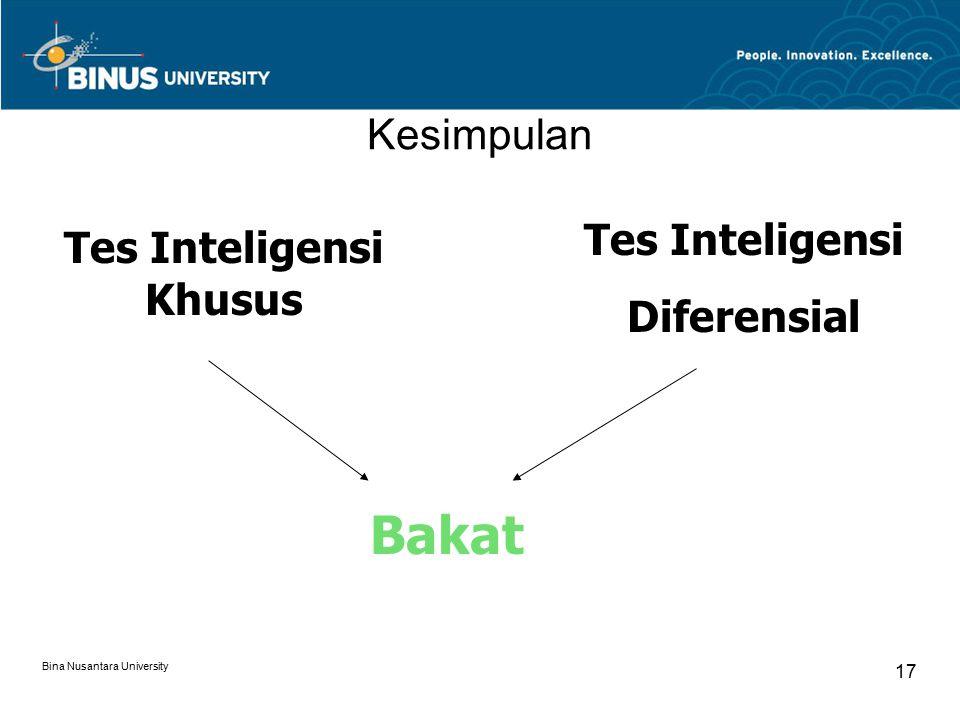 Bina Nusantara University 18 Tes Bakat -Tes yang dirancang untuk mengukur kemampuan potensial seseorang dalam suatu tipe aktivitas tertentu dan dalam rentang waktu tertentu -Disebut juga :  Tes kemampuan khusus  Tes perbedaan individual  Tes batas kemampuan  Tes kekuatan kemampuan (power ability test)