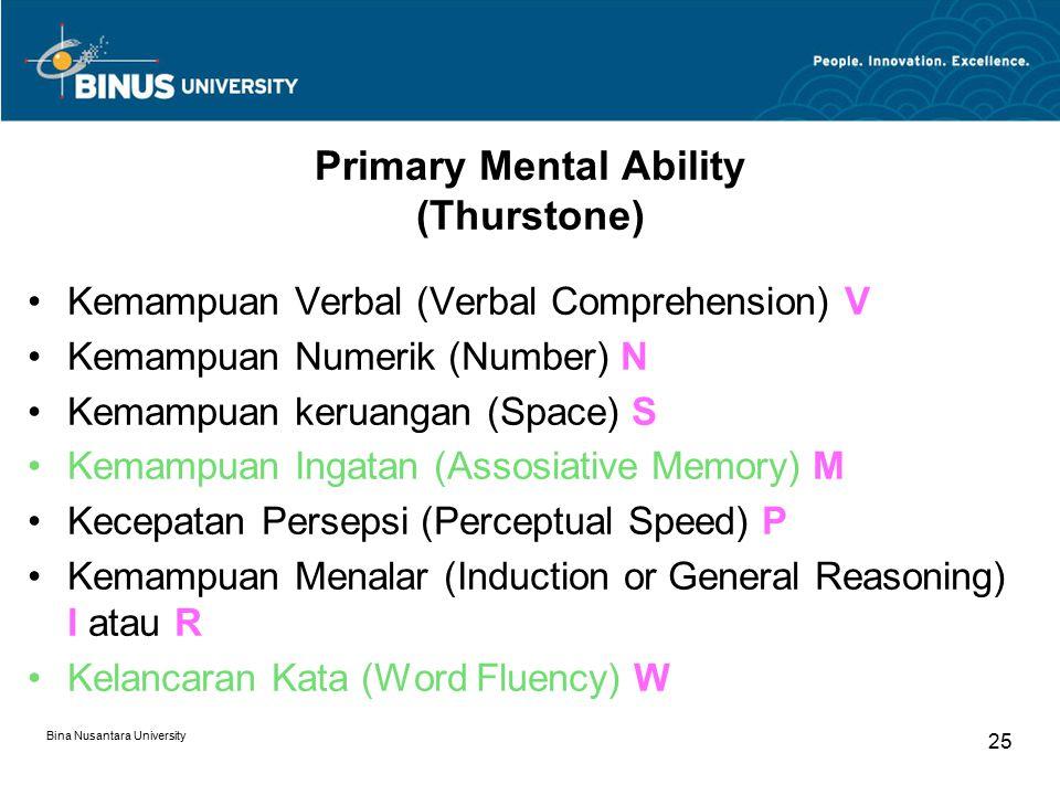 Bina Nusantara University 25 Primary Mental Ability (Thurstone) Kemampuan Verbal (Verbal Comprehension) V Kemampuan Numerik (Number) N Kemampuan kerua