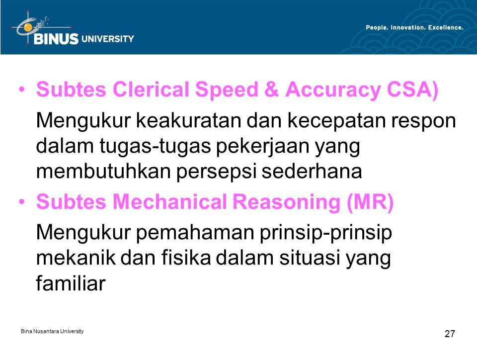 Bina Nusantara University 27 Subtes Clerical Speed & Accuracy CSA) Mengukur keakuratan dan kecepatan respon dalam tugas-tugas pekerjaan yang membutuhk