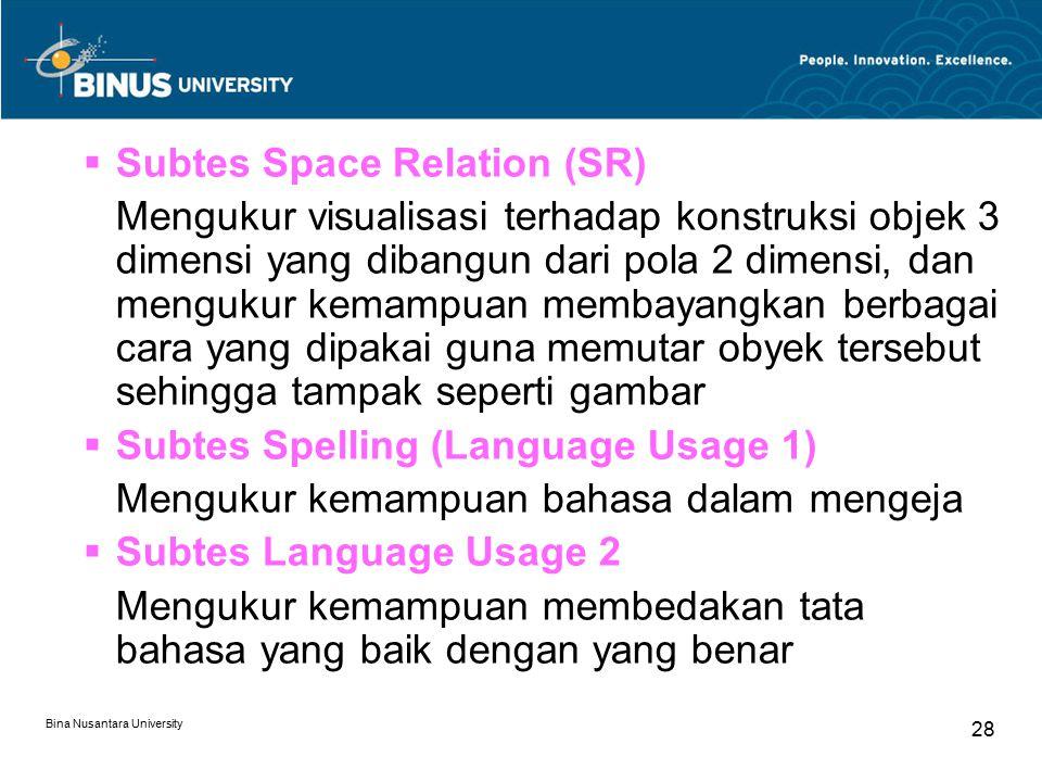 Bina Nusantara University 28  Subtes Space Relation (SR) Mengukur visualisasi terhadap konstruksi objek 3 dimensi yang dibangun dari pola 2 dimensi,