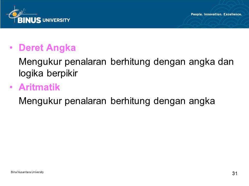 Bina Nusantara University 31 Deret Angka Mengukur penalaran berhitung dengan angka dan logika berpikir Aritmatik Mengukur penalaran berhitung dengan a
