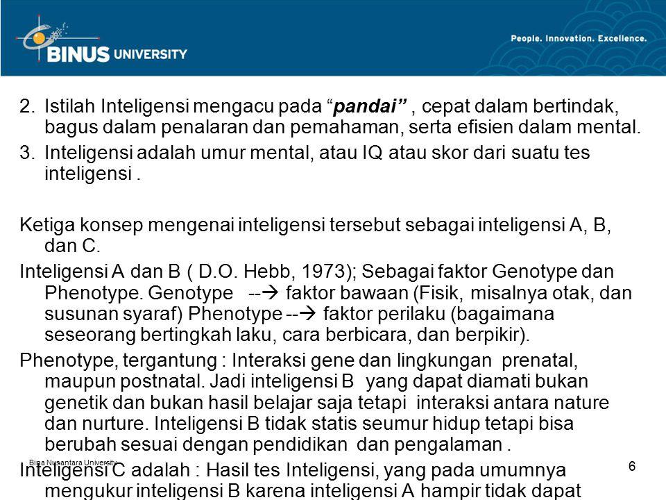 "Bina Nusantara University 6 2.Istilah Inteligensi mengacu pada ""pandai"", cepat dalam bertindak, bagus dalam penalaran dan pemahaman, serta efisien dal"