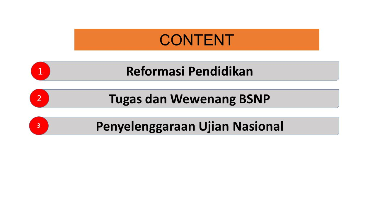 CONTENT Reformasi Pendidikan 1 Tugas dan Wewenang BSNP Penyelenggaraan Ujian Nasional 2 3