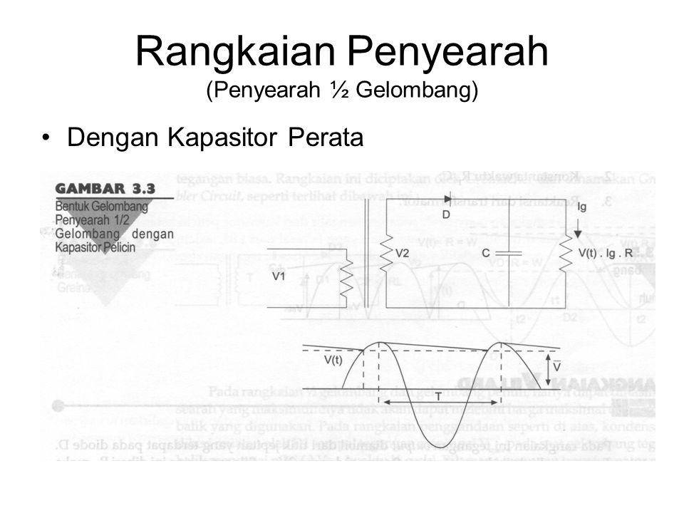 Rangkaian Penyearah (Penyearah ½ Gelombang) Dengan Kapasitor Perata