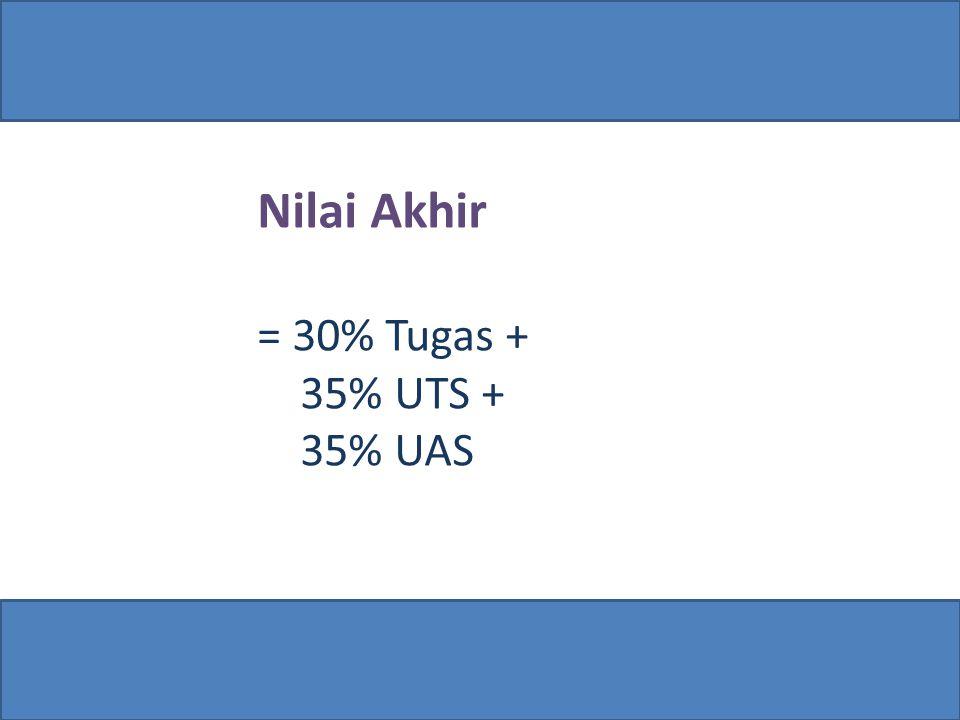Nilai Akhir = 30% Tugas + 35% UTS + 35% UAS