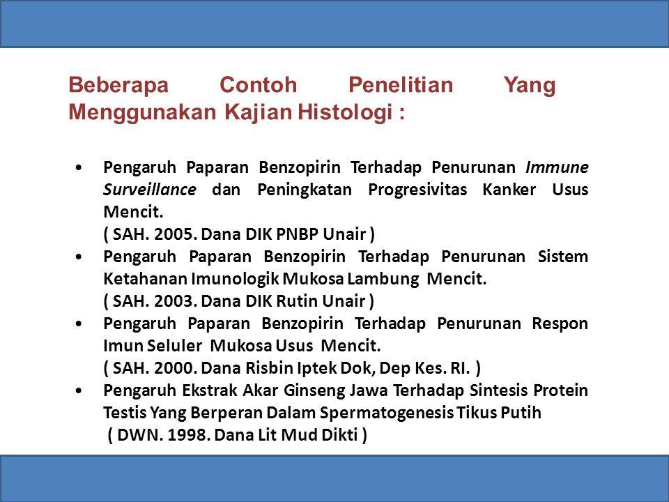 Beberapa Contoh Penelitian Yang Menggunakan Kajian Histologi : Pengaruh Paparan Benzopirin Terhadap Penurunan Immune Surveillance dan Peningkatan Progresivitas Kanker Usus Mencit.