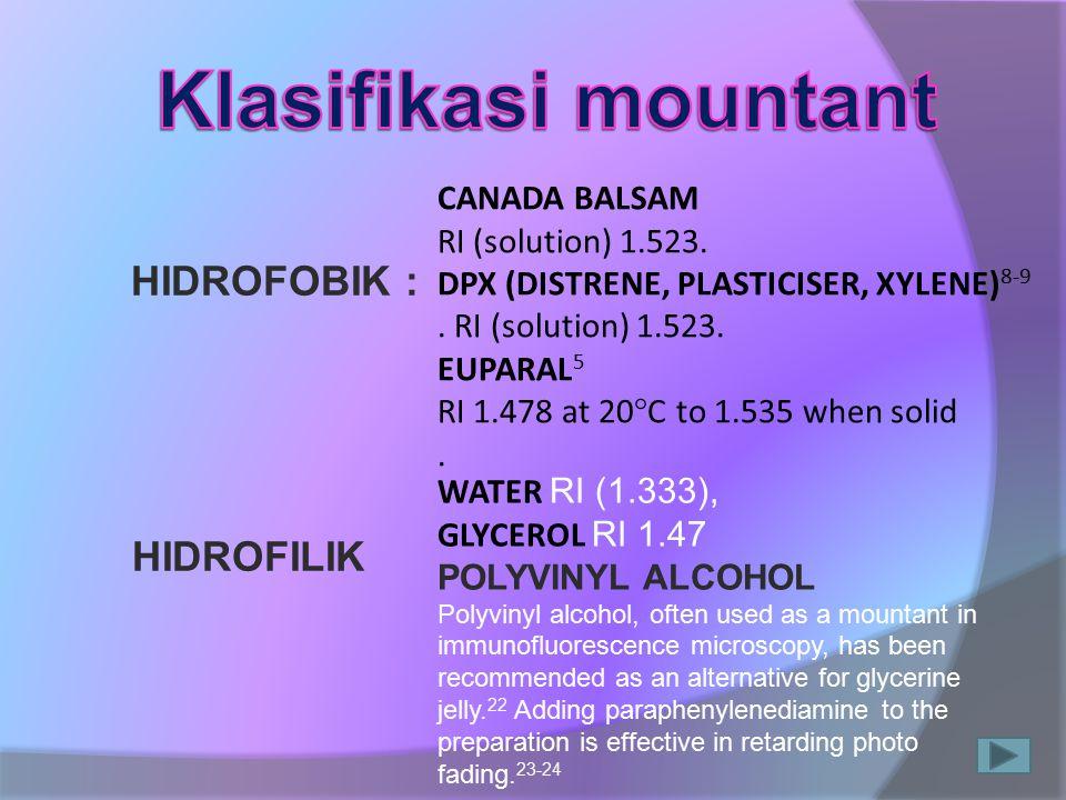 HIDROFOBIK : HIDROFILIK CANADA BALSAM RI (solution) 1.523. DPX (DISTRENE, PLASTICISER, XYLENE) 8-9. RI (solution) 1.523. EUPARAL 5 RI 1.478 at 20°C to