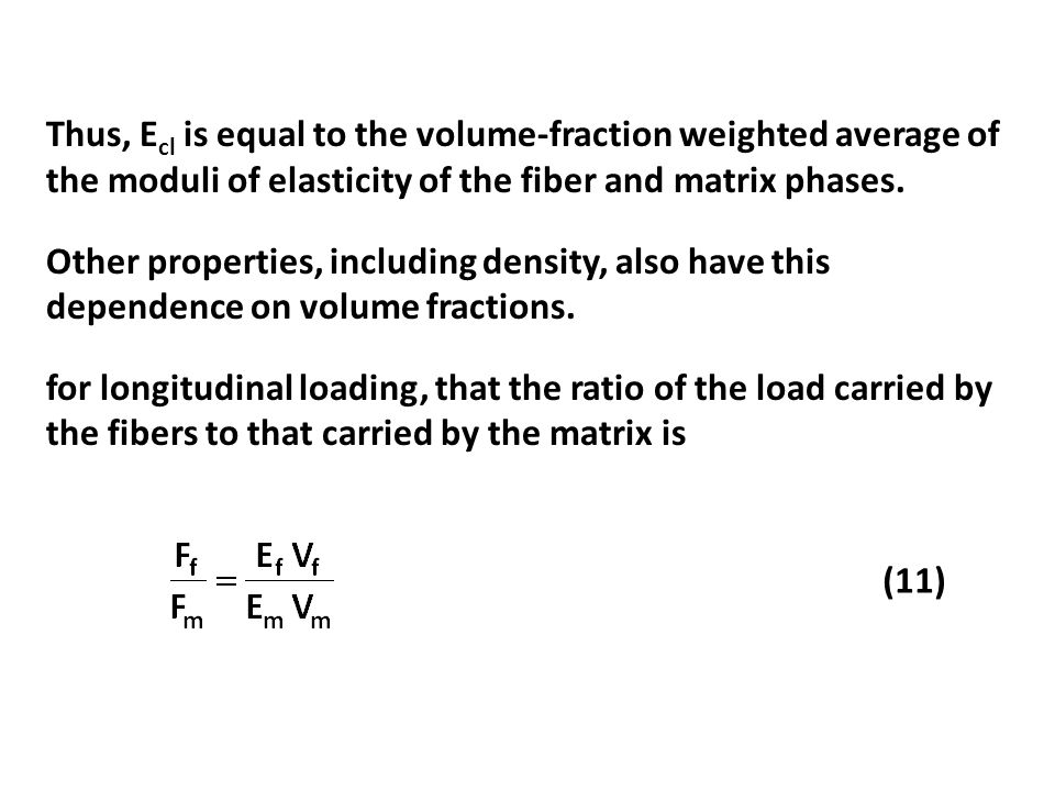 Thus, E cl is equal to the volume-fraction weighted average of the moduli of elasticity of the fiber and matrix phases. Other properties, including de