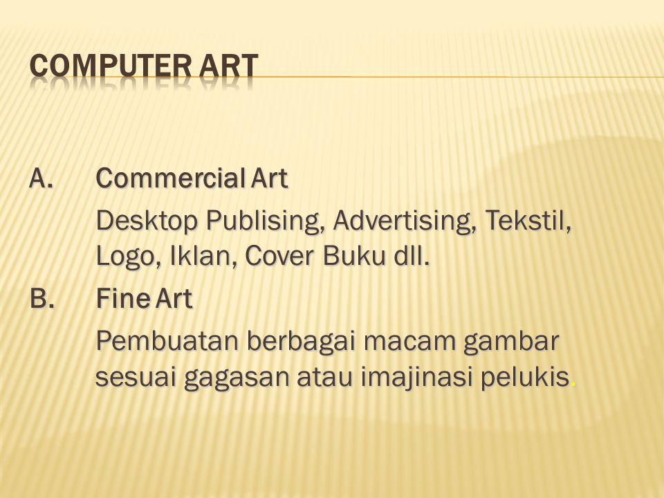 A.Commercial Art Desktop Publising, Advertising, Tekstil, Logo, Iklan, Cover Buku dll. B.Fine Art Pembuatan berbagai macam gambar sesuai gagasan atau
