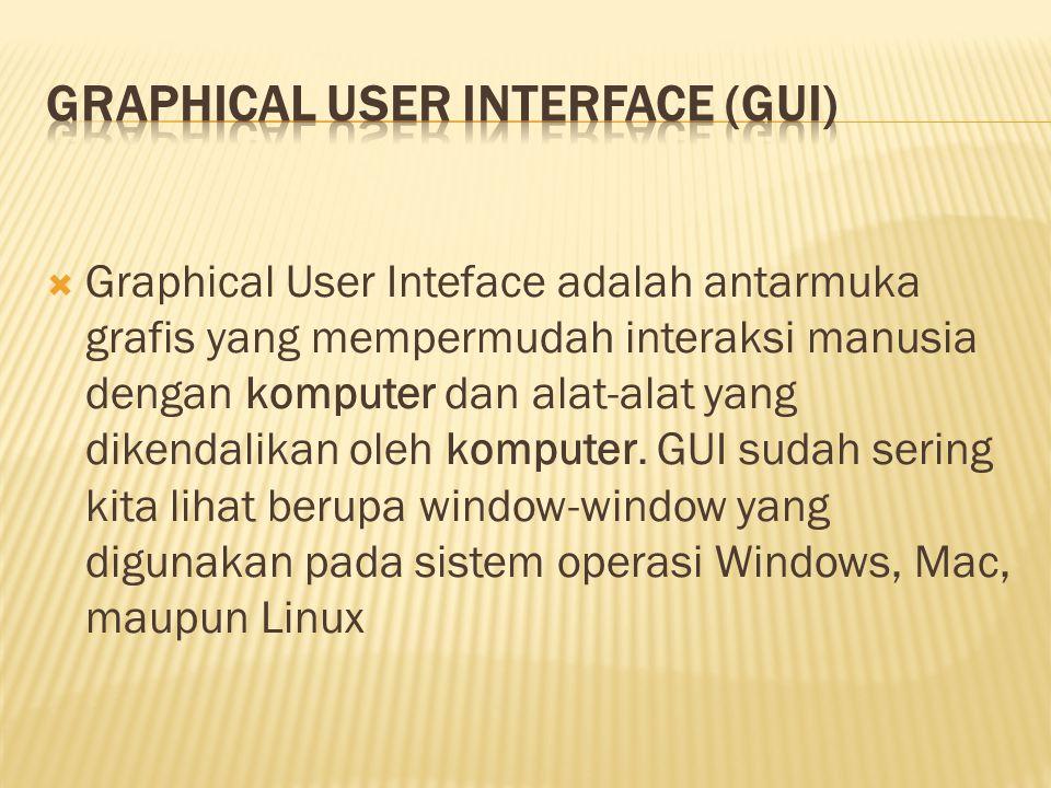  Graphical User Inteface adalah antarmuka grafis yang mempermudah interaksi manusia dengan komputer dan alat-alat yang dikendalikan oleh komputer.