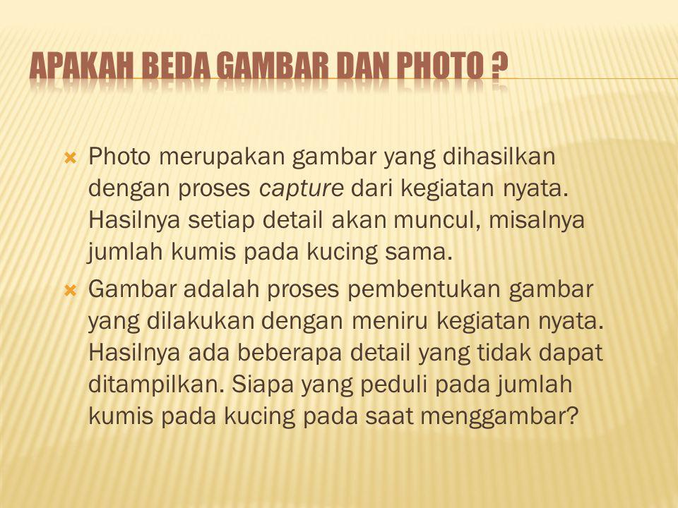  Photo merupakan gambar yang dihasilkan dengan proses capture dari kegiatan nyata.