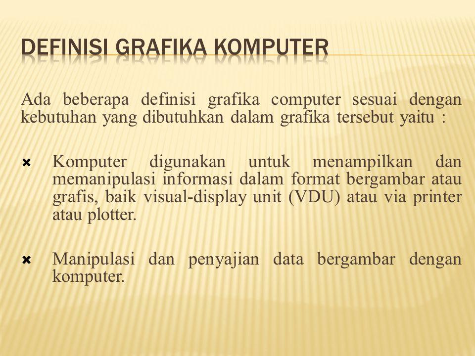 Ada beberapa definisi grafika computer sesuai dengan kebutuhan yang dibutuhkan dalam grafika tersebut yaitu :  Komputer digunakan untuk menampilkan dan memanipulasi informasi dalam format bergambar atau grafis, baik visual-display unit (VDU) atau via printer atau plotter.