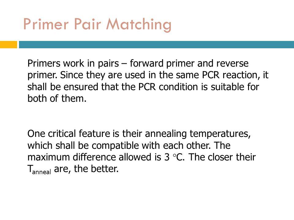 Primer Pair Matching Primers work in pairs – forward primer and reverse primer.