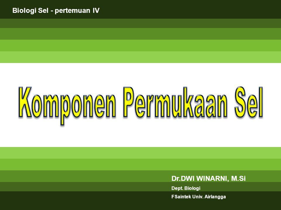 Dr.DWI WINARNI, M.Si Dept. Biologi FSaintek Univ. Airlangga Biologi Sel - pertemuan IV
