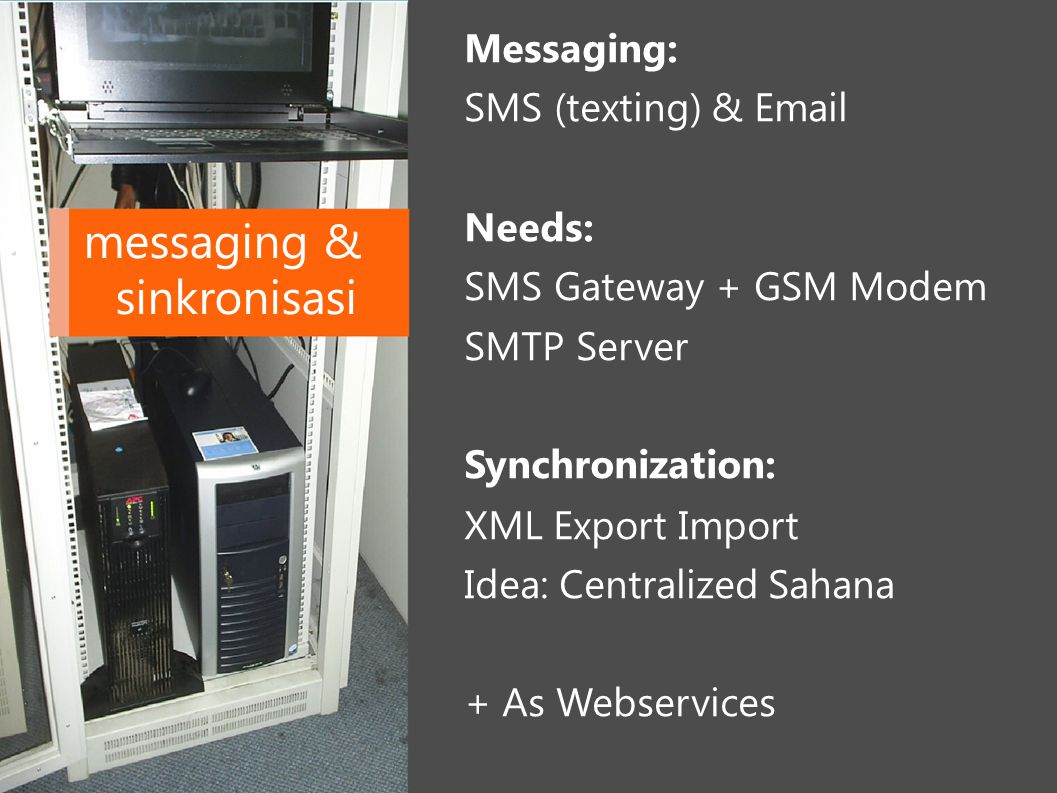 Messaging: SMS (texting) & Email messaging & sinkronisasi Needs: SMS Gateway + GSM Modem SMTP Server Synchronization: XML Export Import Idea: Centrali