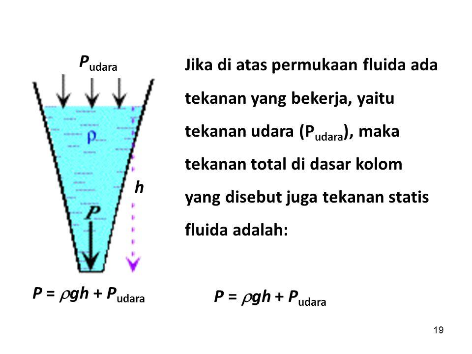 19 Jika di atas permukaan fluida ada tekanan yang bekerja, yaitu tekanan udara (P udara ), maka tekanan total di dasar kolom yang disebut juga tekanan statis fluida adalah: P =  gh + P udara udara P =  gh + P udara P udara h