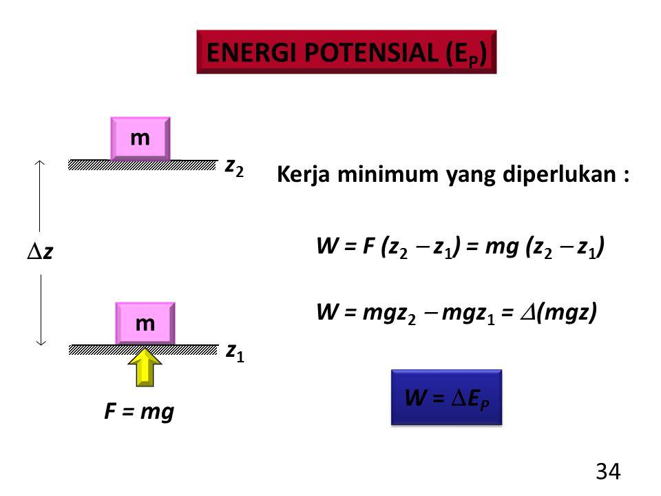 34 F = mg Kerja minimum yang diperlukan : W = F (z 2  z 1 ) = mg (z 2  z 1 ) W = mgz 2  mgz 1 =  (mgz) W =  E P m zz z1z1 z2z2 ENERGI POTENSIAL