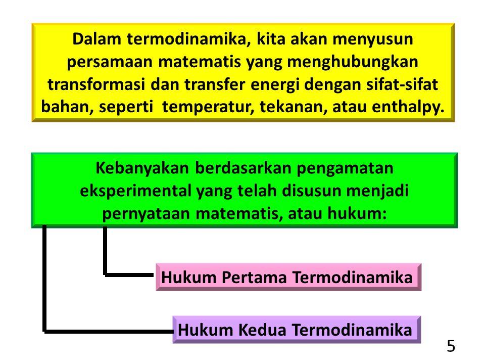 5 Dalam termodinamika, kita akan menyusun persamaan matematis yang menghubungkan transformasi dan transfer energi dengan sifat-sifat bahan, seperti te