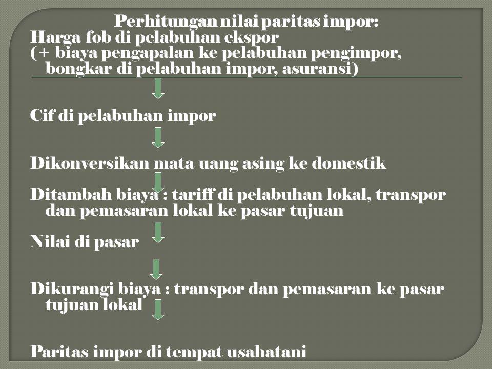 Perhitungan nilai paritas impor: Harga fob di pelabuhan ekspor (+ biaya pengapalan ke pelabuhan pengimpor, bongkar di pelabuhan impor, asuransi) Cif d