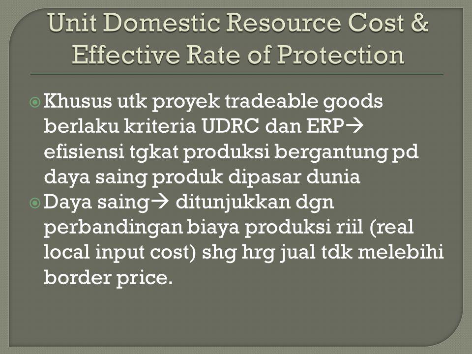  Khusus utk proyek tradeable goods berlaku kriteria UDRC dan ERP  efisiensi tgkat produksi bergantung pd daya saing produk dipasar dunia  Daya sain
