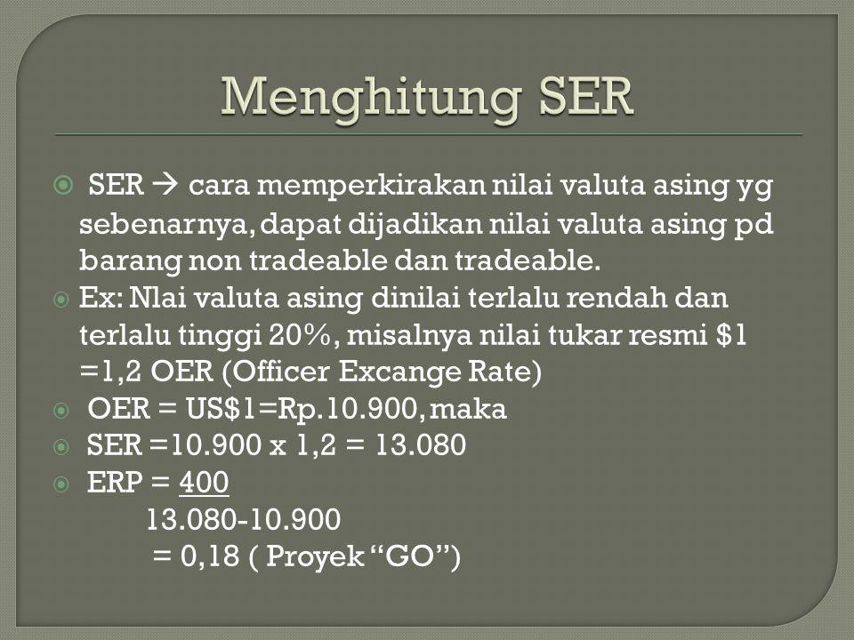  SER  cara memperkirakan nilai valuta asing yg sebenarnya, dapat dijadikan nilai valuta asing pd barang non tradeable dan tradeable.  Ex: Nlai valu