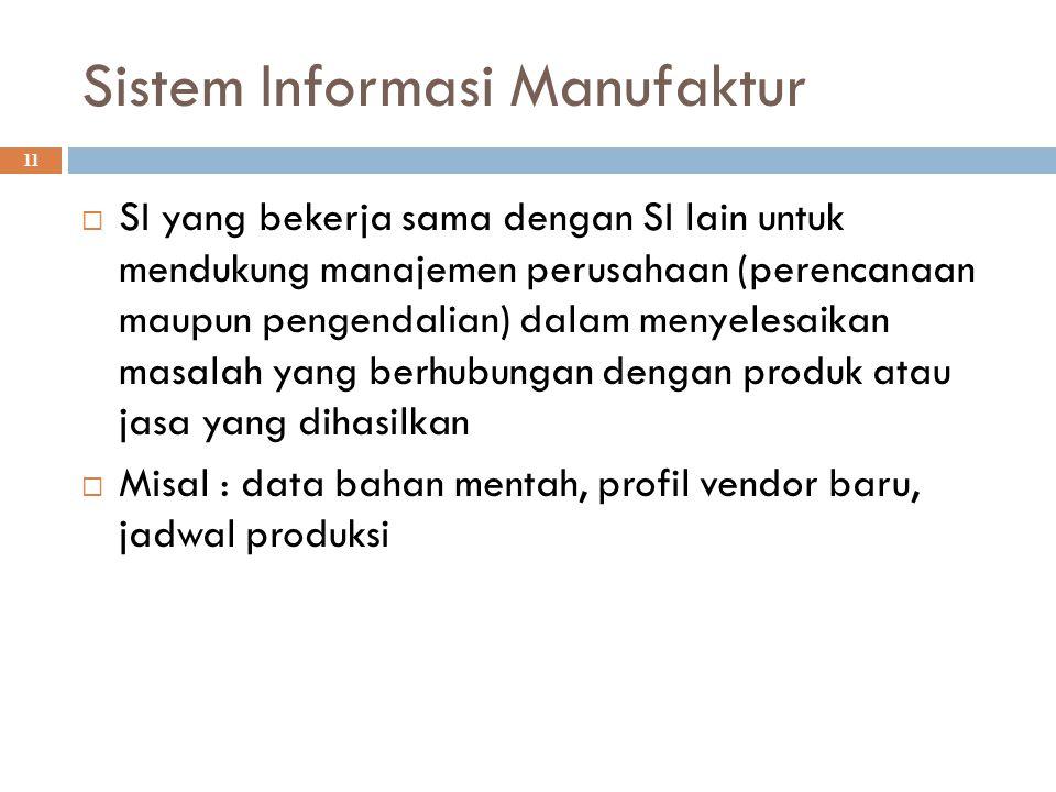 Sistem Informasi Manufaktur 11  SI yang bekerja sama dengan SI lain untuk mendukung manajemen perusahaan (perencanaan maupun pengendalian) dalam meny