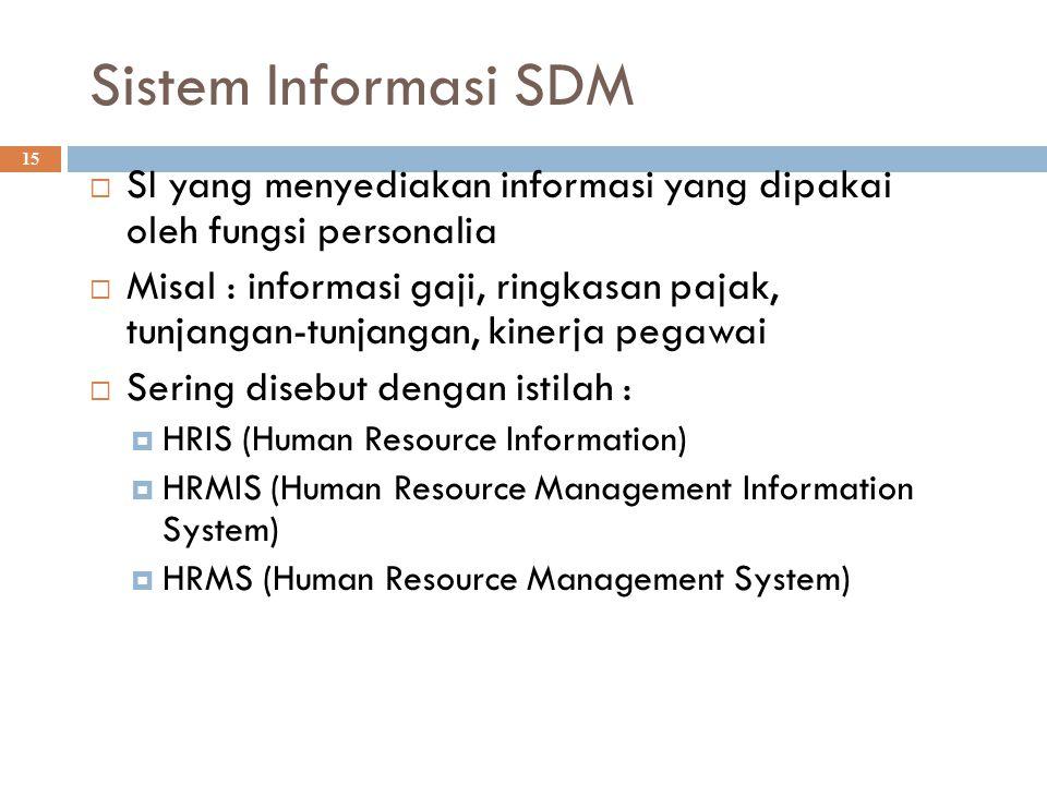 Sistem Informasi SDM 15  SI yang menyediakan informasi yang dipakai oleh fungsi personalia  Misal : informasi gaji, ringkasan pajak, tunjangan-tunja