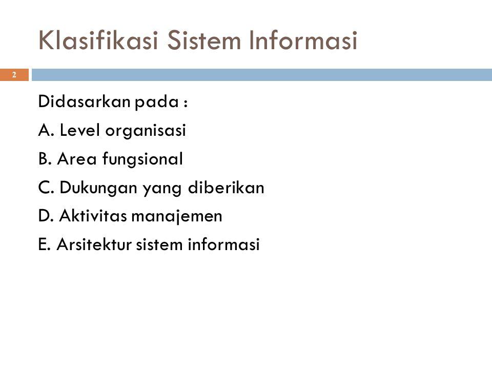 Klasifikasi Sistem Informasi 2 Didasarkan pada : A. Level organisasi B. Area fungsional C. Dukungan yang diberikan D. Aktivitas manajemen E. Arsitektu
