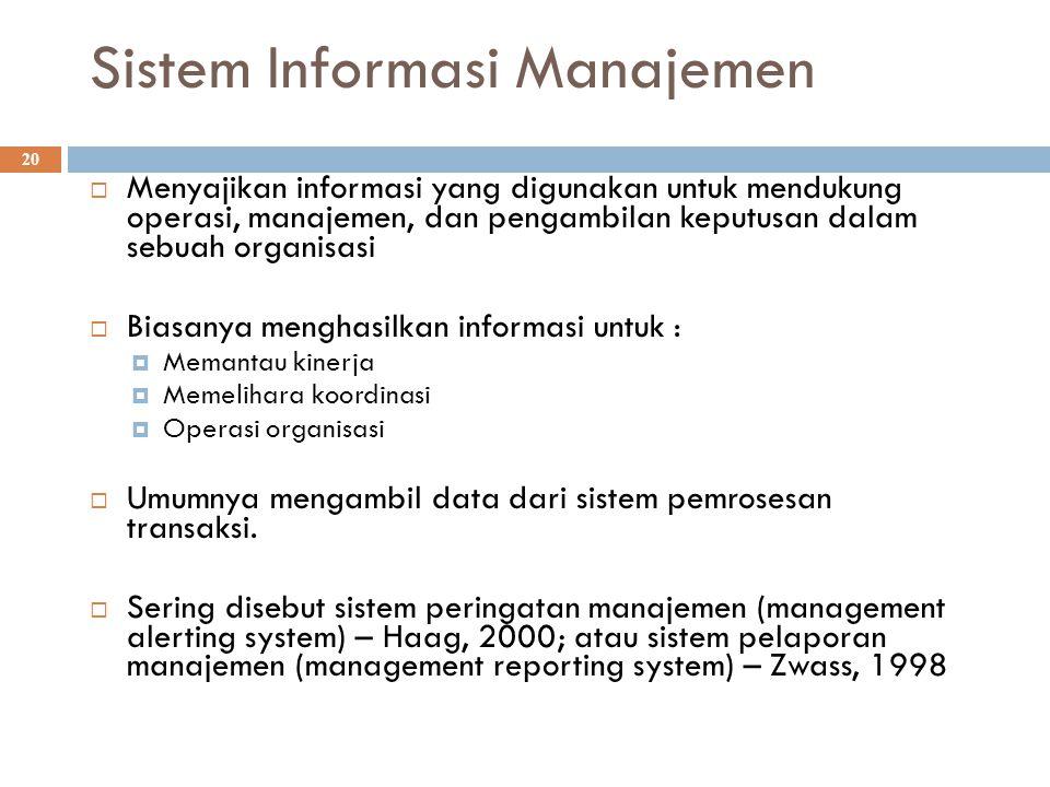 Sistem Informasi Manajemen 20  Menyajikan informasi yang digunakan untuk mendukung operasi, manajemen, dan pengambilan keputusan dalam sebuah organis