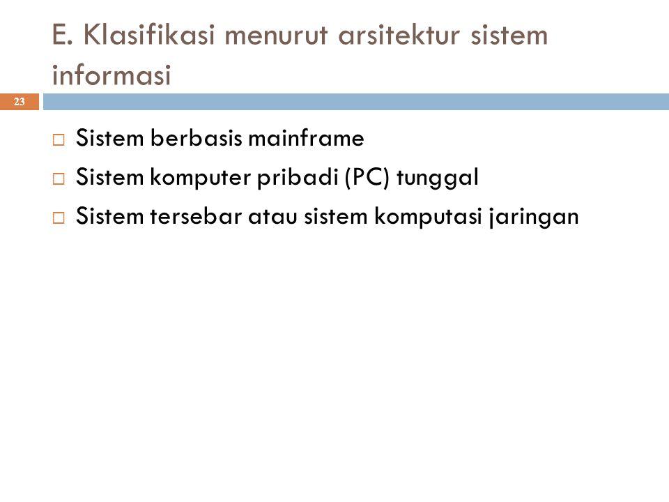 E. Klasifikasi menurut arsitektur sistem informasi 23  Sistem berbasis mainframe  Sistem komputer pribadi (PC) tunggal  Sistem tersebar atau sistem