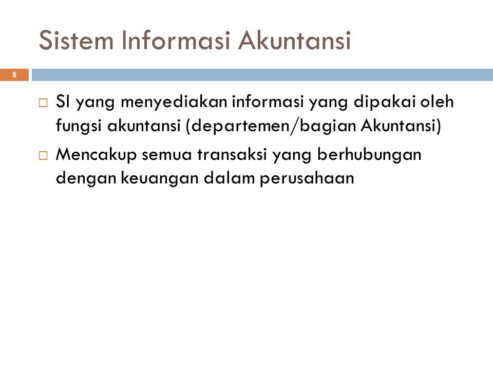 Sistem Informasi Akuntansi 8  SI yang menyediakan informasi yang dipakai oleh fungsi akuntansi (departemen/bagian Akuntansi)  Mencakup semua transak