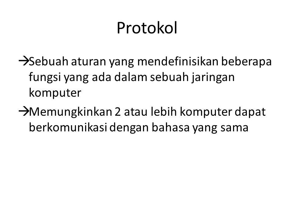 Protokol  Sebuah aturan yang mendefinisikan beberapa fungsi yang ada dalam sebuah jaringan komputer  Memungkinkan 2 atau lebih komputer dapat berkom
