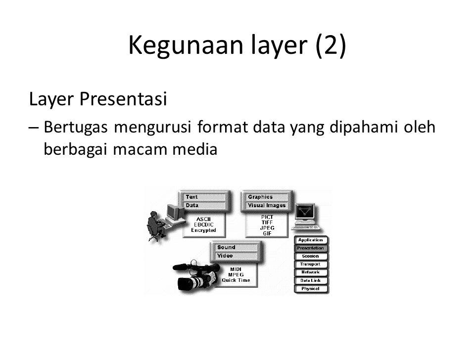 Kegunaan layer (2) Layer Presentasi – Bertugas mengurusi format data yang dipahami oleh berbagai macam media