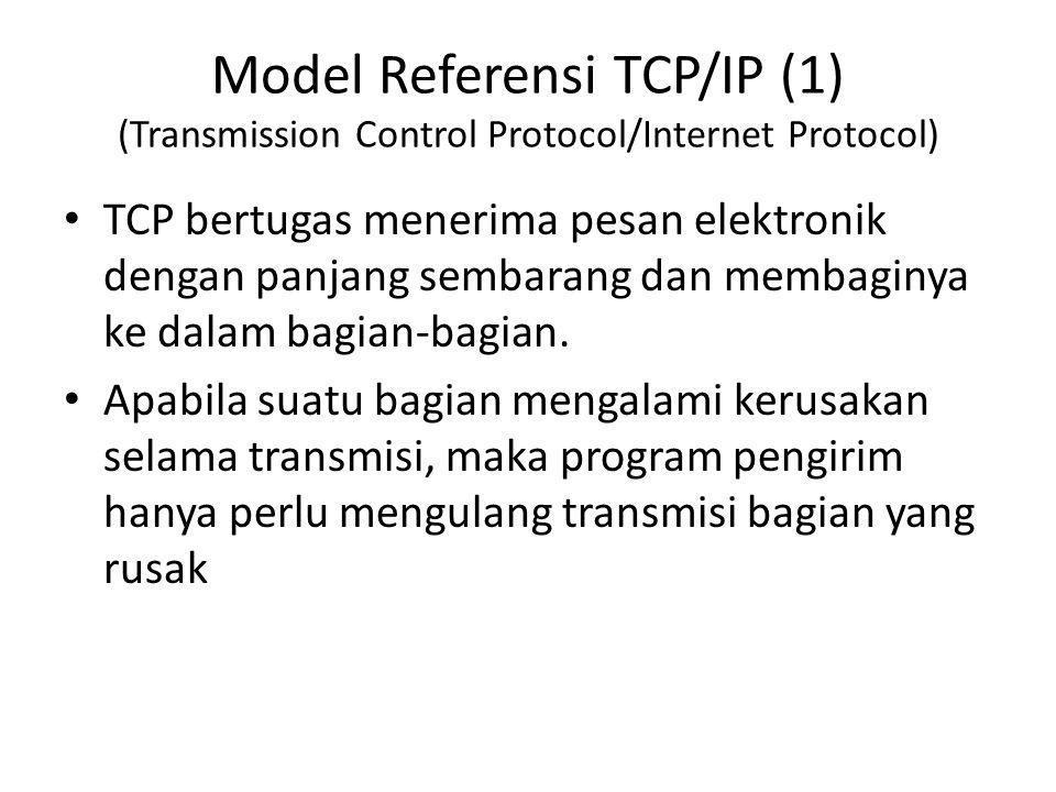 Model Referensi TCP/IP (1) (Transmission Control Protocol/Internet Protocol) TCP bertugas menerima pesan elektronik dengan panjang sembarang dan memba